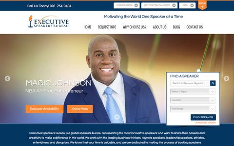 Screenshot of Home Page executivespeakers.com - Motivational Keynote Speakers Bureau | Top Keynote Speakers, Top Motivational Speakers - captured Feb. 2, 2016