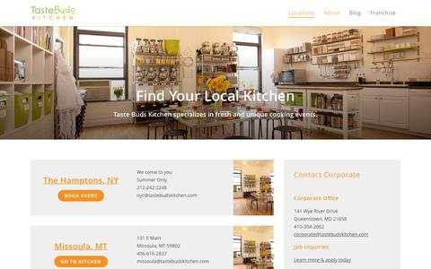 Screenshot of Contact Page Locations Page tastebudskitchen.com - Locations - Taste Buds Kitchen - captured Jan. 12, 2016