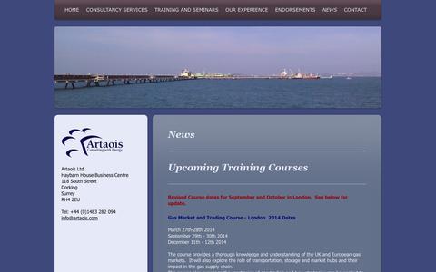 Screenshot of Press Page artaoisconsulting.com - News - Artaois Ltd.  Energy Market Experts for Strategic Solutions, - captured Oct. 4, 2014