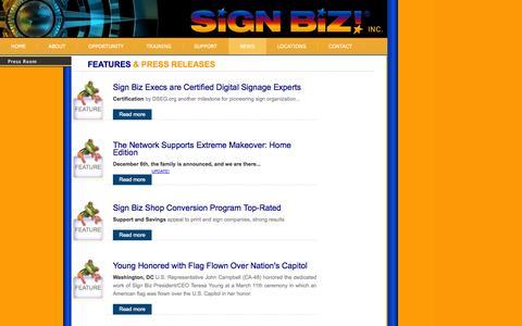 Screenshot of Press Page signbiz.com - Sign Biz Press Room Current News Releases - captured Oct. 26, 2014