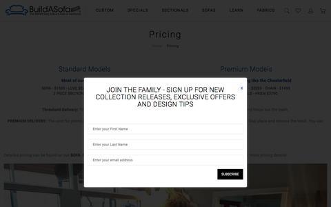Screenshot of Pricing Page buildasofa.com - Custom Sofa And Sectional Pricing | BuildASofa - captured June 28, 2017
