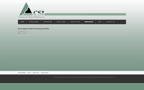 Screenshot of Case Studies Page csi-consultants.com - Case Studies - captured Oct. 1, 2014