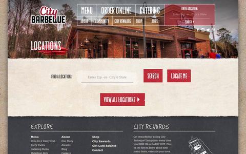 Screenshot of Locations Page citybbq.com - Locations - City Barbeque and CateringCity Barbeque and Catering - captured Aug. 1, 2017