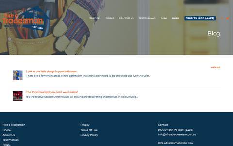 Screenshot of Blog hireatradesman.com.au - Blog - Hire A Tradesman - captured Sept. 29, 2018