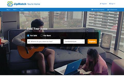 Screenshot of Home Page zipmatch.com - Philippines Property Search, Listing & Real Estate Investing - captured Jan. 15, 2015