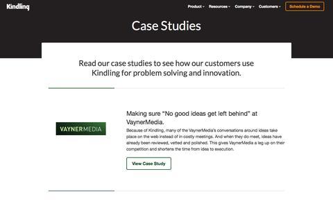 Screenshot of Case Studies Page kindlingapp.com - Case Studies  | Kindling. Innovation software people enjoy using. - captured Sept. 16, 2014