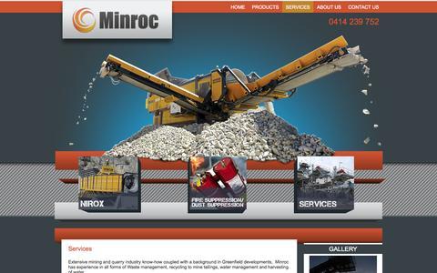 Screenshot of Services Page minroc.com.au - Services - captured Oct. 7, 2014