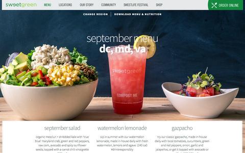 Screenshot of Menu Page sweetgreen.com - menu | sweetgreen - captured Sept. 17, 2014