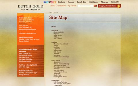 Screenshot of Site Map Page dutchgoldhoney.com - Dutch Gold Honey                      :                 Dutch Gold Honey's Website Map - captured April 10, 2017