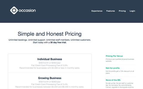 Screenshot of Pricing Page getoccasion.com - Online Booking Software Pricing - Occasion - captured Nov. 5, 2014