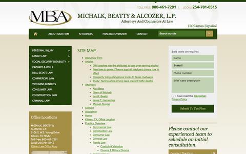 Screenshot of Site Map Page mbaattorneys.com - Site Map   Michalk, Beatty & Alcozer, L.P.   Killeen - captured Oct. 27, 2014