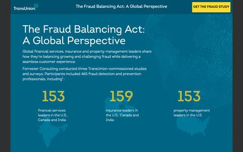 Screenshot of Landing Page transunion.com - The Fraud Balancing Act: A Global Perspective | TransUnion - captured Oct. 24, 2018