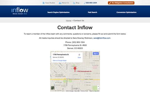 Screenshot of Contact Page goinflow.com - Contact Inflow, Inbound Marketing Experts in Denver - captured Sept. 23, 2014