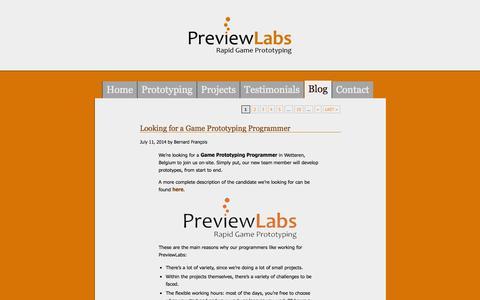 Screenshot of Blog previewlabs.com - PreviewLabs » Blog - captured Sept. 19, 2014