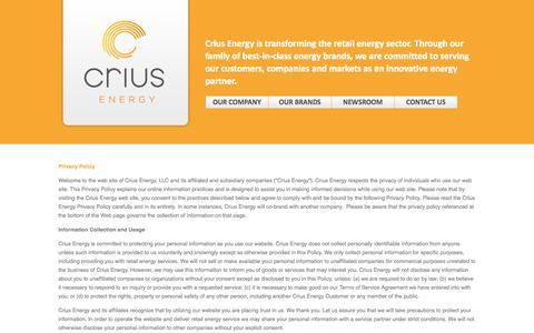 Screenshot of Privacy Page criusenergy.com - Crius Energy - captured Oct. 30, 2014