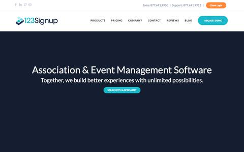 Screenshot of Home Page 123signup.com - Association & Event Management Software | 123Signup - captured Sept. 23, 2018