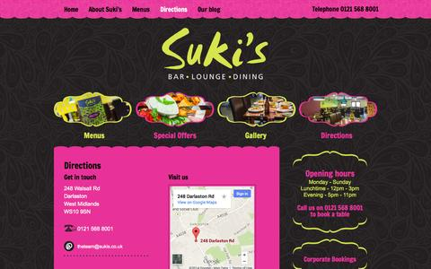 Screenshot of Maps & Directions Page sukis.co.uk - Directions | Sukis  Bar and Indian Restaurant - captured Oct. 7, 2014