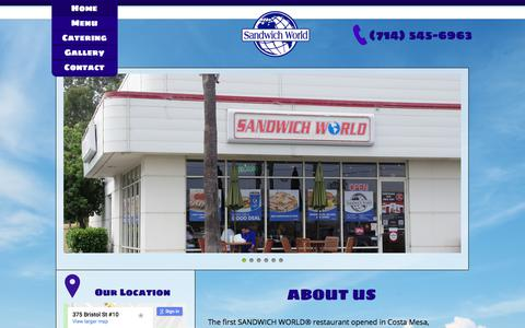 Screenshot of Home Page sandwichworld.net - Home|insearch|Sandwich World Costa Mesa, CA - captured July 27, 2018