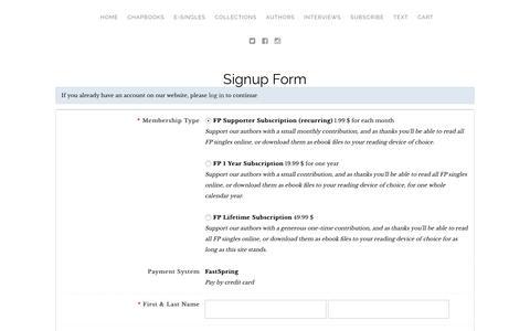 Screenshot of Signup Page foundpress.com - Found Press - captured Oct. 14, 2017