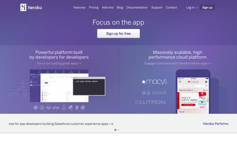 Screenshot of Home Page heroku.com - Heroku | Cloud Application Platform - captured Jan. 15, 2015
