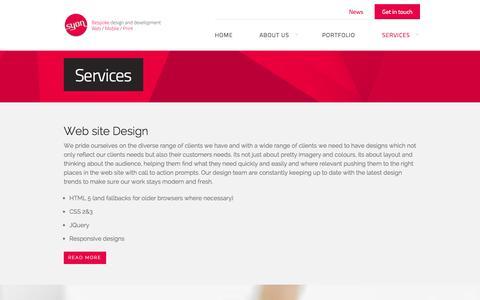 Screenshot of Services Page syon.com - Web design & web development services :: Syon - captured Oct. 7, 2014