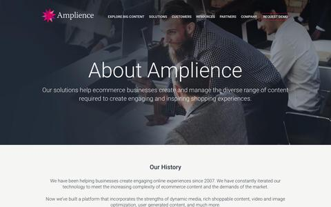 Screenshot of About Page amplience.com - About - Amplience - captured July 3, 2016