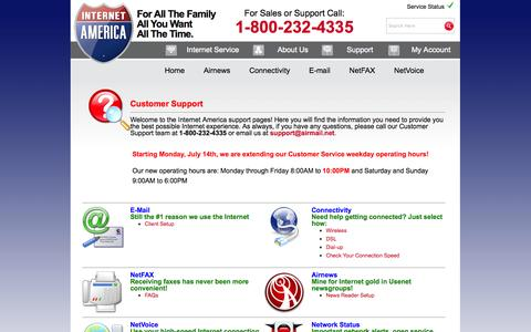 Screenshot of Support Page internetamerica.com - Internet America - Support - captured Sept. 16, 2014