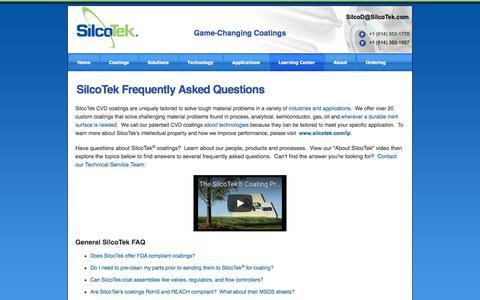 Screenshot of FAQ Page silcotek.com - Coating frequently asked questions, FAQ - captured Nov. 3, 2017
