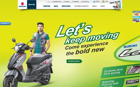 Screenshot of Home Page suzukimotorcycle.co.in - Two Wheeler Manufacturers in India - Best Bikes, Motorcycles & Scooters | Suzuki Motorcycle India Private Limited - captured Oct. 15, 2015