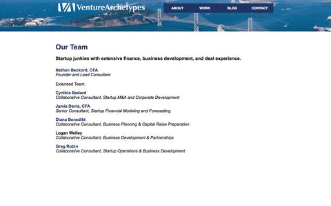 Screenshot of Team Page venturearchetypes.com - Startup Finance, Business Development, and Exit Strategy Consultants - captured Oct. 7, 2014