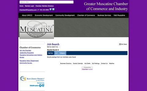 Screenshot of Jobs Page muscatine.com - Job Search - Greater Muscatine Chamber of Commerce & Industry, IA - captured Nov. 15, 2016