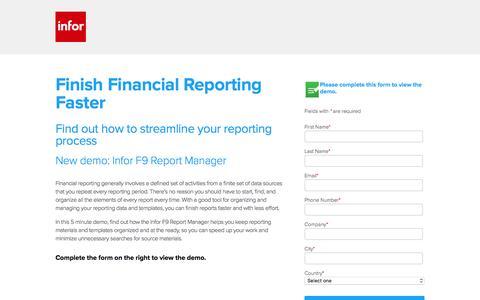 Screenshot of Landing Page infor.com - New demo: Infor F9 Report Manager - captured Nov. 18, 2016