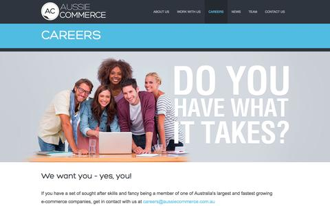 Screenshot of Jobs Page aussiecommerce.com.au - Aussie Commerce - captured Sept. 22, 2014