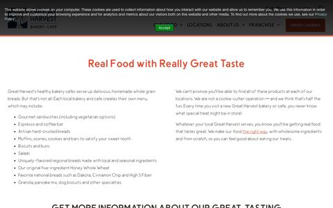 Screenshot of Menu Page greatharvest.com - Our Food Tastes Incredible | Great Harvest Bread - captured Dec. 6, 2019