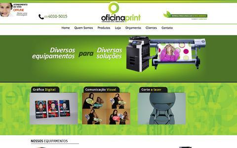 Screenshot of Home Page oficinaprint.com.br - Comunicação Visual | Gráfica Digital | Corte a Laser | Home - Oficina Print - captured Jan. 26, 2015
