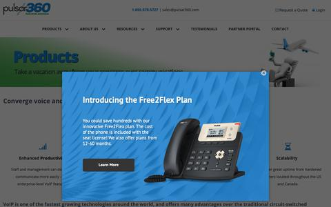 Screenshot of Products Page pulsar360.com - Converge Voice and Data Communications onto a Single Network, VoIP - captured Dec. 8, 2018