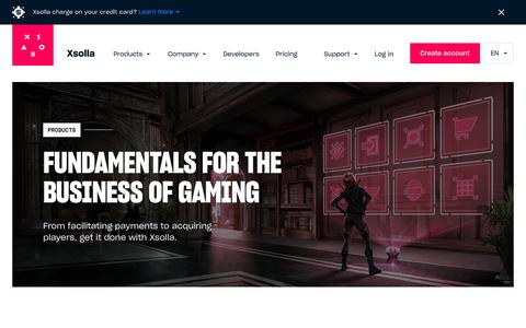 Screenshot of Products Page xsolla.com - Get the developer products to create and market your video game  | Xsolla - captured Sept. 20, 2018