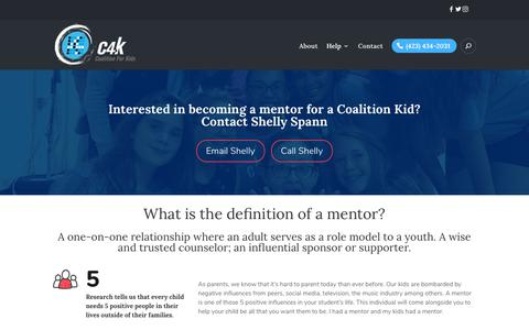 Screenshot of Signup Page coalitionforkids.org - Mentoring - Coalition for Kids - captured Sept. 28, 2018