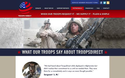 Screenshot of Testimonials Page troopsdirect.org - Testimonials «  TroopsDirect.org - captured May 10, 2017