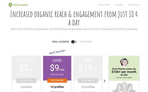 Screenshot of Pricing Page postplanner.com - Plans & Signup - captured March 25, 2018