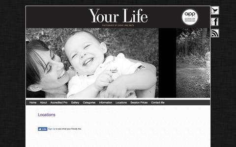 Screenshot of Locations Page yourlifephotography.com.au - Locations - Sunshine Coast Family Portrait Photography - captured Nov. 18, 2016