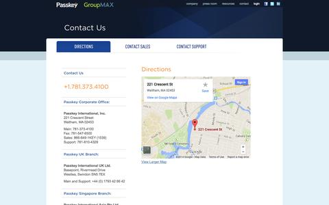 Screenshot of Contact Page Maps & Directions Page passkey.com - Passkey – Directions - captured Oct. 22, 2014