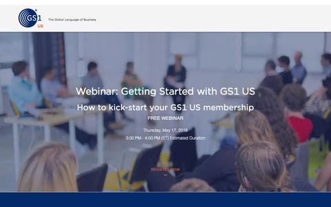 Screenshot of Landing Page gs1us.org captured May 5, 2018