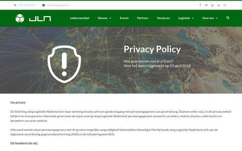 Screenshot of Privacy Page jonglogistiek.nl - Privacy Policy | Jong Logistiek Nederland - captured Nov. 14, 2018