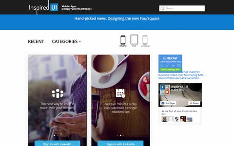 Screenshot of Home Page inspired-ui.com - Inspired UI - Mobile Apps Design Patterns [iPhone] - captured Feb. 27, 2016
