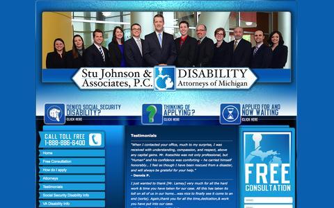 Screenshot of Testimonials Page damichigan.com - Client Testimonials | SSI | SSDI | Veterans | Disability Attorneys of Michigan - captured Oct. 5, 2014