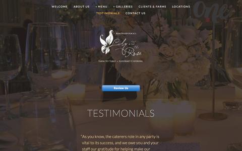 Screenshot of Testimonials Page lilyandtherose.com - Testimonials — - captured Sept. 27, 2016