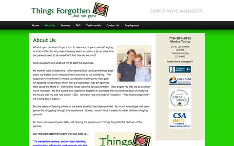 Screenshot of About Page thingsforgottenllc.com - About Us - captured Sept. 30, 2014