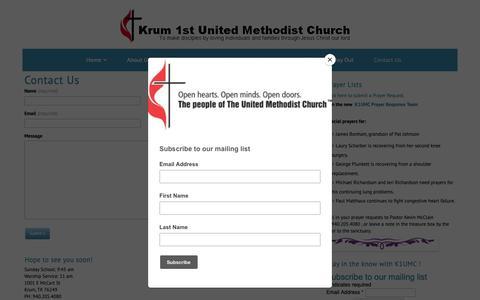 Screenshot of Contact Page thekrumchurch.com - Contact Us – Krum First United Methodist Church - captured Oct. 10, 2018