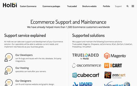 Screenshot of Support Page holbi.co.uk - Ecommerce support services, Support of Ecommerce projects - captured Sept. 19, 2017